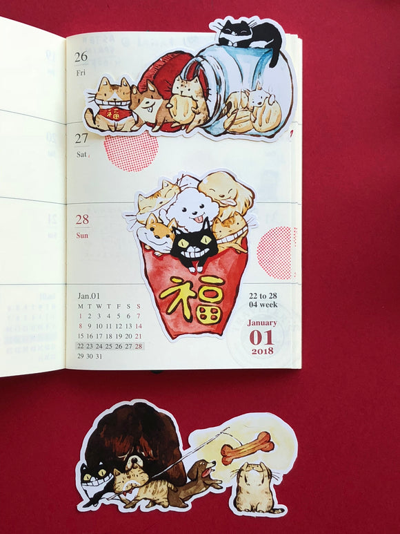 Neko Inu x Luke Leia Chewie CNY Sticker Set