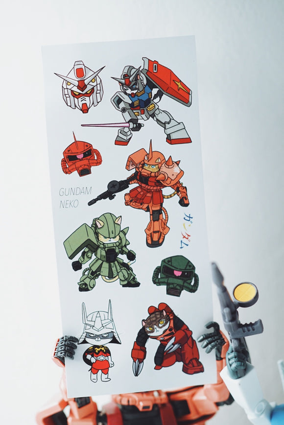 Gundam Neko Stickers