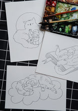 Load image into Gallery viewer, Cat World Watercolor Coloring Sheets