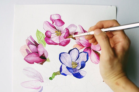 Botanical Watercolor Coloring Pages
