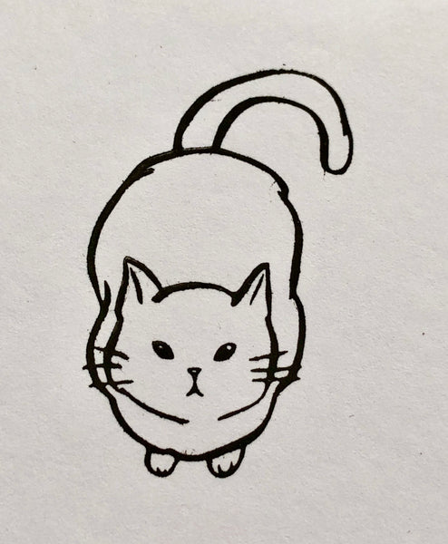 Cat Looking Up II (Big) Rubber Stamp