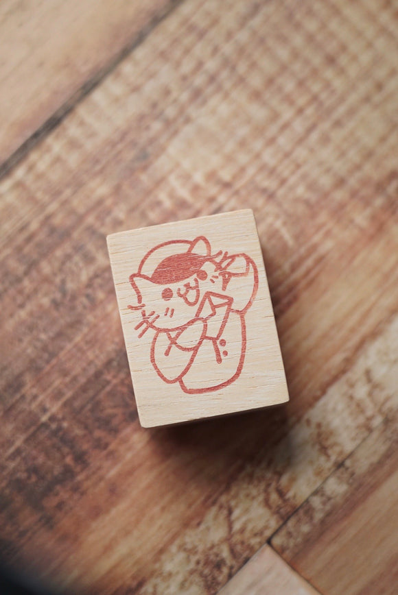 Post Cat Rubber Stamp Large