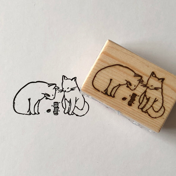 Cats with Washi Stack Rubber Stamp