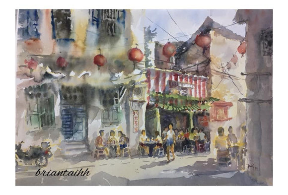 Lorong Panggung Ho Gao Coffee Shop Postcard by Brian Tai