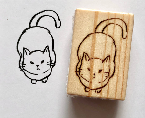 Cat Looking Up II (Small) Rubber Stamp