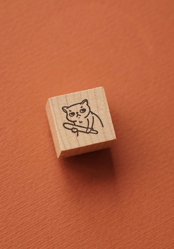 Angry Cat Rubber Stamp