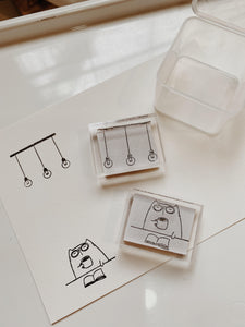 Catdoo Rubber Stamp // Coffee & Book