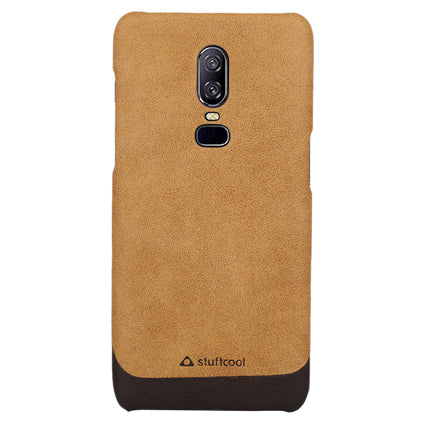 Stuffcool Bon Dual Tone PU Leather Back Case Cover for OnePlus 6