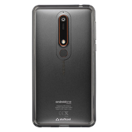 Stuffcool Claro Hard Back Soft Frame Case Cover for Nokia 6 (2018) - Grey