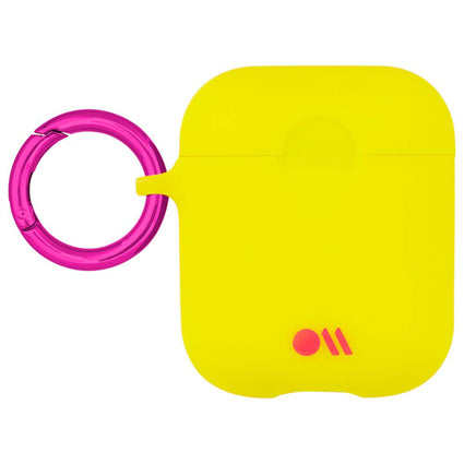 Case-Mate AirPods Case Cover Hook Ups - Silicone Compatible with Apple AirPods Series 1 & 2 - Lemon Lime Yellow
