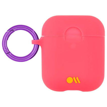 Case-Mate AirPods Case Cover Hook Ups - Silicone Compatible with Apple AirPods Series 1 & 2 - Living Coral Light Pink