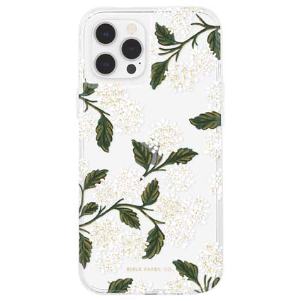 "Rifle Paper Co. Hard Back Case Cover for Apple iPhone 12 / iPhone 12 Pro 6.1"" - Hydrangea White"