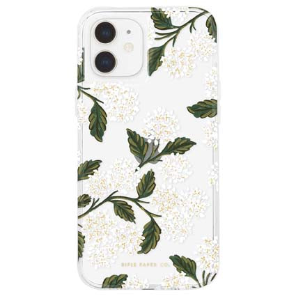"Rifle Paper Co. Hard Back Case Cover for Apple iPhone 12 Mini 5.4"" - Hydrangea White"