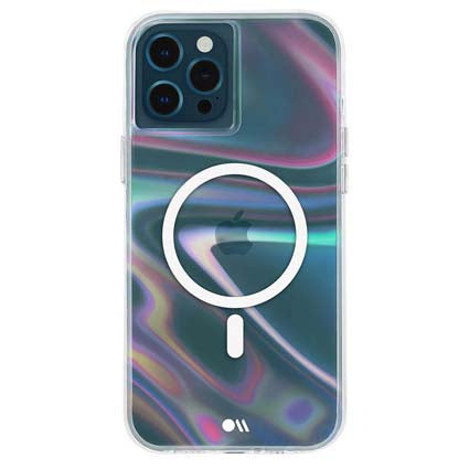 Case-Mate - SOAP Bubble - Case for iPhone 12 and iPhone 12 Pro (5G) - Compatible with MAGSAFE Accessories & Charging 6.1 Inch - Iridescent Swirl