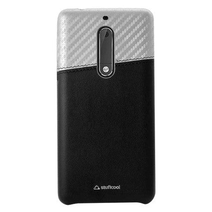 Stuffcool Carafi Dual Tone PU Leather Back Case Cover with Faux Carbon Fibre Finish for Nokia 5
