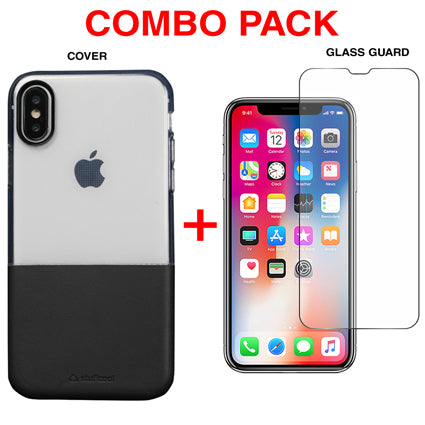 Stuffcool Combo Pack Demi Soft & PU Leather Back Case Cover + Tempered Glass Guard for Apple iPhone XS / iPhone X