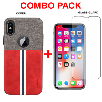 Stuffcool Combo Pack Eto Sport PU Leather Back Case Cover + Tempered Glass Guard for Apple iPhone XS / iPhone X