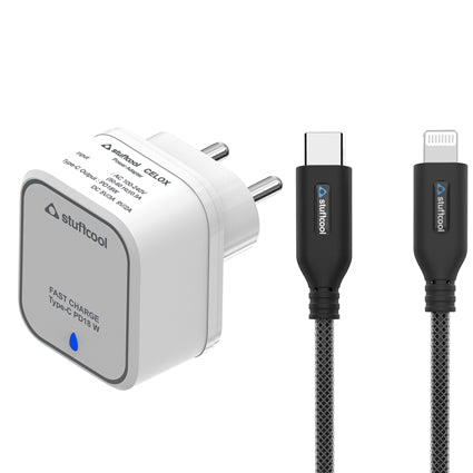 Stuffcool Power Kit Type C PD 18W Celox Single USB Power Delivery Wall Charger with Apple MFi Certified PET braided Type-C to Lightning Cable 1.5M