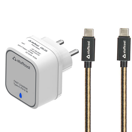 Stuffcool Power Kit Type C PD 18W Celox Single USB Power Delivery Wall Charger with 3A Type-C to USB Type-C Cable 1M