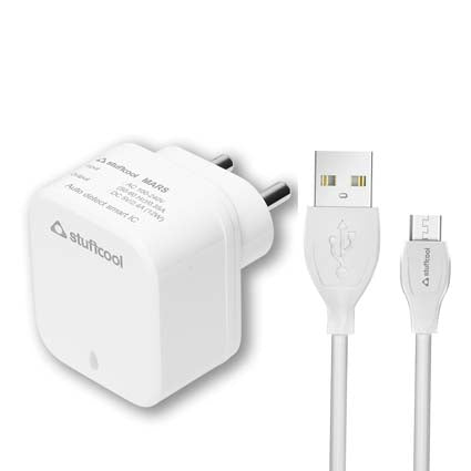 Stuffcool Mars 2 Charge it 2.4A Dual USB Mobile Wall Charger with 1M Micro USB Cable - White
