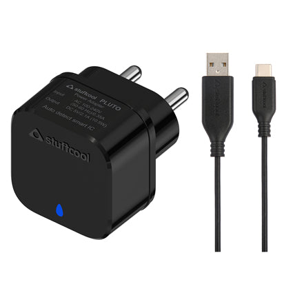 Stuffcool Pluto Power Kit  2.1A USB Wall Charger / Adapter with 3Amp Sync & Charge USB A to USB C Cable 1M - Black