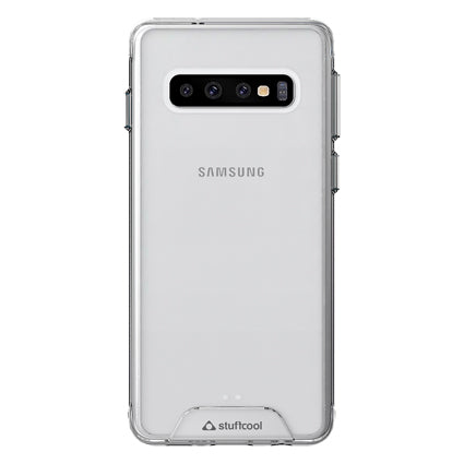 Stuffcool Ice Hybrid Solid Soft Frame & Hard Back Case Cover Samsung Galaxy S10 - Clear