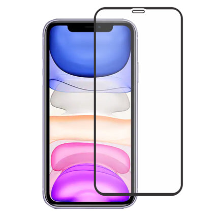 "Stuffcool Mighty 2.5D Full Glass ScreenProtector for iPhone 11 6.1"" - Black (Case Friendly)"
