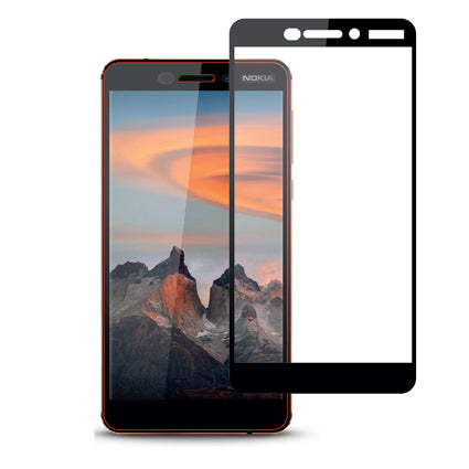 Stuffcool Mighty 2.5D Full Screen Tempered Glass Screen Protector Guard for Nokia 6 (2018) - Black (Case Friendly & Edge to Edge)