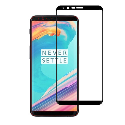 Stuffcool Mighty 2.5D Full Screen Tempered Glass Screen Protector Guard for OnePlus 5T - Black (Case Friendly & Edge to Edge)