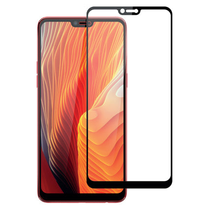 Stuffcool Mighty 2.5D Full Screen Tempered Glass Screen Protector Guard for Oppo F7 - Black (Case Friendly & Edge to Edge)