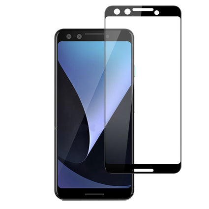 Stuffcool Mighty 2.5D Full Screen Tempered Glass Screen Protector for Google Pixel 3 - Black (Case Friendly & Edge to Edge)