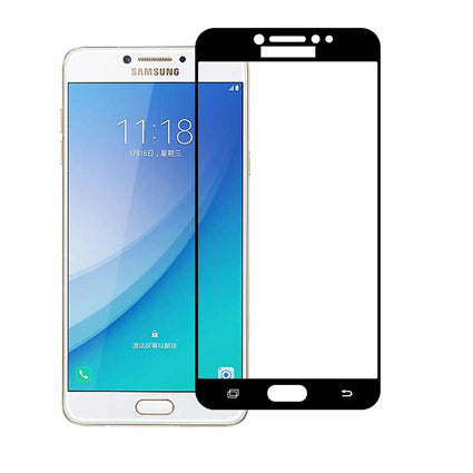 Stuffcool Mighty 2.5D Full Screen Tempered Glass Screen Protector for Samsung Galaxy C7 Pro (Case Friendly & Edge to Edge)