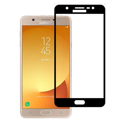 Stuffcool Mighty 2.5D Full Screen Tempered Glass Screen Protector for Samsung Galaxy J7 Max - Black (Case Friendly & Edge to Edge)