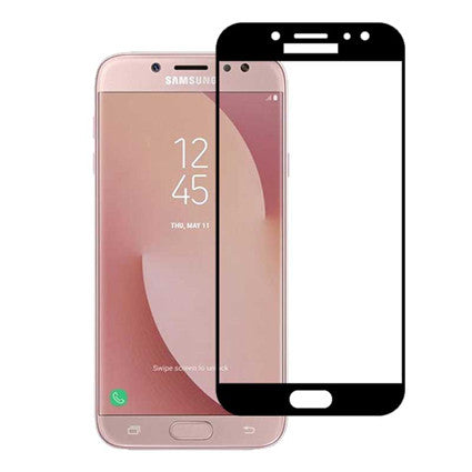Stuffcool Mighty 2.5D Full Screen Tempered Glass Screen Protector for Samsung Galaxy J7 Pro - Black (Case Friendly & Edge to Edge)