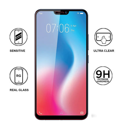 Stuffcool Mighty 2 5D Full Screen Tempered Glass Screen Protector Guard for  Vivo V9 - Black (Case Friendly & Edge to Edge)
