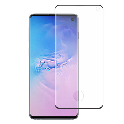 Stuffcool Tempered Glass for Samsung Galaxy S10 (6.1 Inch) 3D Mighty Full Screen Protection (Edge to Edge) - Black