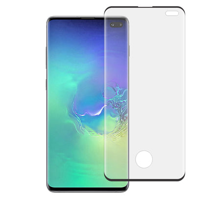 Stuffcool Tempered Glass for Samsung Galaxy S10+ / S10 Plus (6.4 Inch) 3D Mighty Full Screen Protection (Edge to Edge) – Black