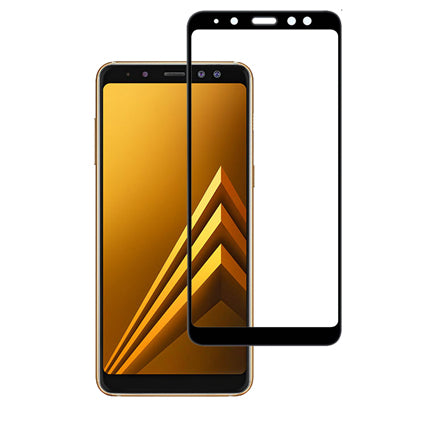 Stuffcool Mighty 2.5D Full Screen Tempered Glass Screen Protector Guard for Samsung Galaxy A8 Plus (2018) (Case Friendly & Edge to Edge)
