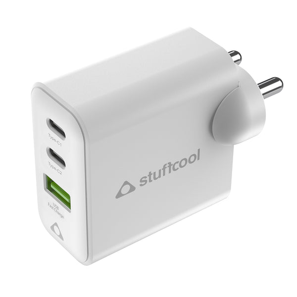 Stuffcool Napoleon PD65W Dual USB GaN Wall Charger for Mac, Ultrabook, i Phones, i Pads, Tablets, Gaming consoles