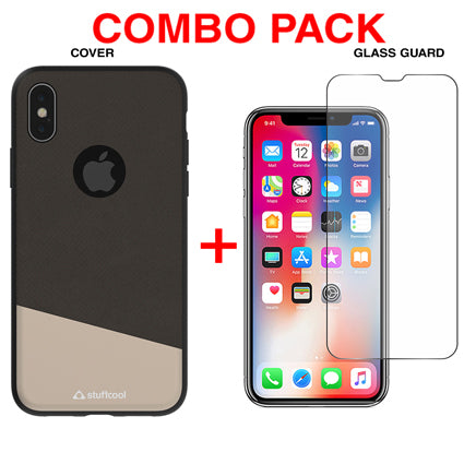 Stuffcool Combo Pack Perla PU Leather Back Case Cover + Tempered Glass Guard for Apple iPhone XS / iPhone X