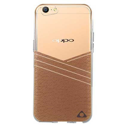Stuffcool Purelux Soft Back Case Cover with Leather Print for Oppo A57 - Brown