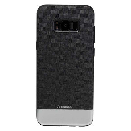 Stuffcool Slub Fashion & Stylish Dual Tone Faux PU Leather Back Case Cover with Brushed Aluminium sheet for Samsung Galaxy S8+ / S8 Plus
