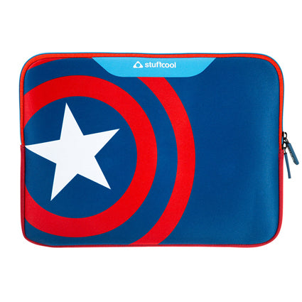 Stuffcool MARVEL Soft Laptop Sleeve for upto 15.4 Inch Macbook Pro / 14 Inch Laptop - Official MARVEL ® Licensed Product for India (CAPTAIN AMERICA)
