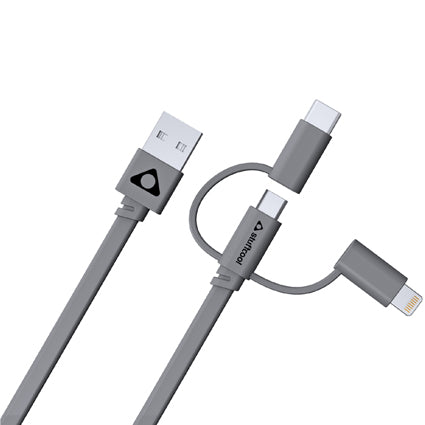 Stuffcool Trish 3 in 1 Cable 3A Type-C, Lightning & Micro USB Sync & Charge Cable 20CM - Grey