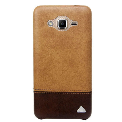 Stuffcool Vogue Dual Tone Leather Back Case Cover for Samsung Galaxy J2 Ace - Light Brown / Dark Brown
