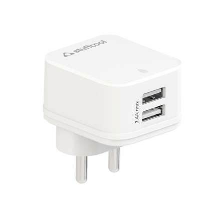 Stuffcool Mars 2.4A Dual USB Wall Charger Adapter - White