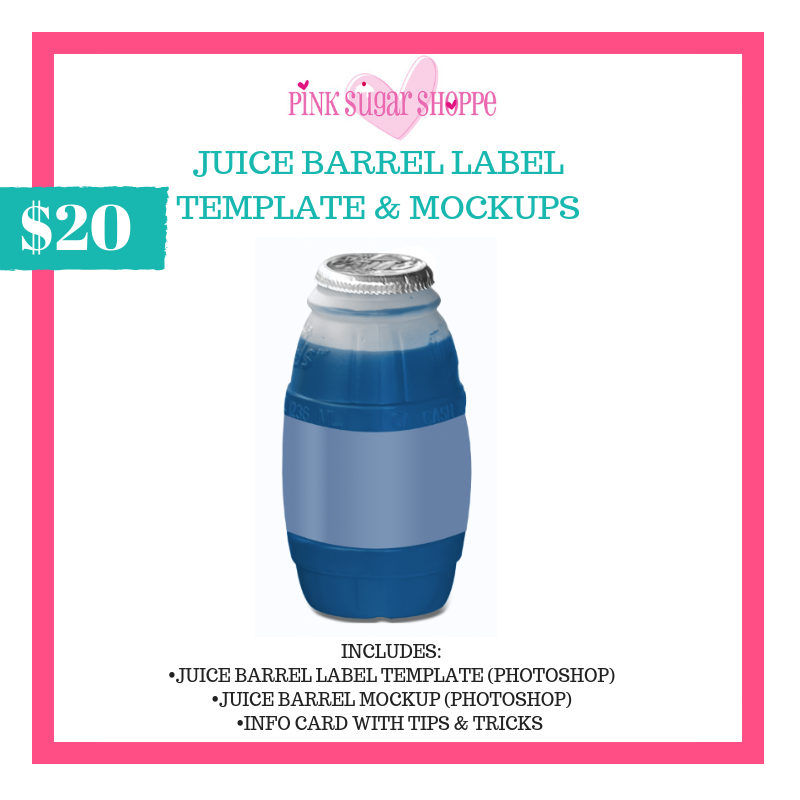 PINK SUGAR SHOPPE JUICE BARREL LABEL TEMPLATE & MOCKUP