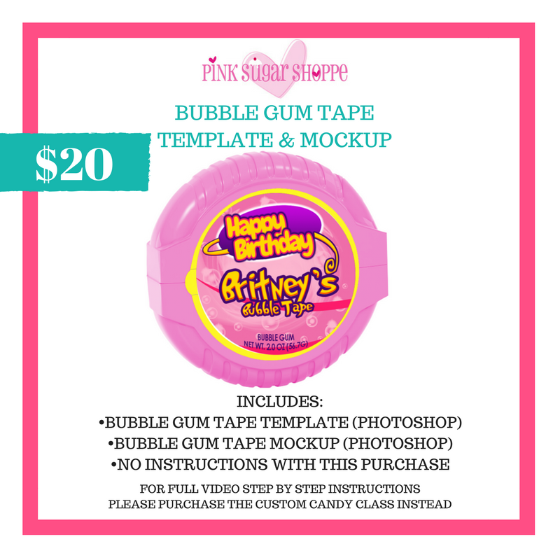 PINK SUGAR SHOPPE BUBBLE GUM TAPE TEMPLATE & MOCKUP