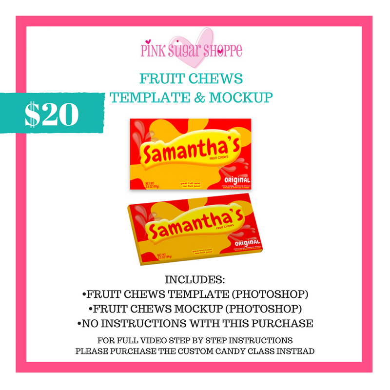 PINK SUGAR SHOPPE FRUIT CHEWS TEMPLATE & MOCKUP