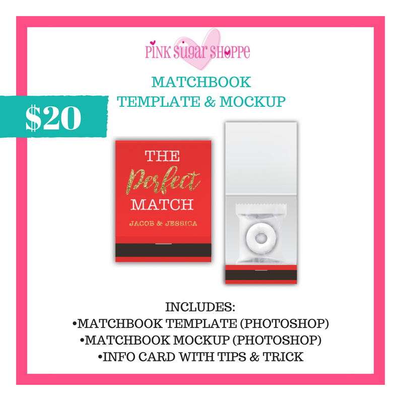 PINK SUGAR SHOPPE MATCHBOOK TEMPLATE AND MOCKUP